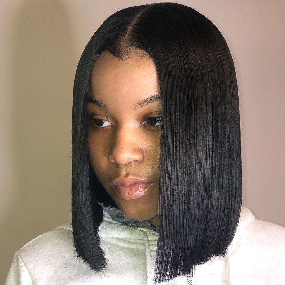 Бразильский прямой парик Короткие Боб фронта шнурка парики фронта шнурка человеческих волос Парики Pre-сорвала с волосами младенца Для черных женщин