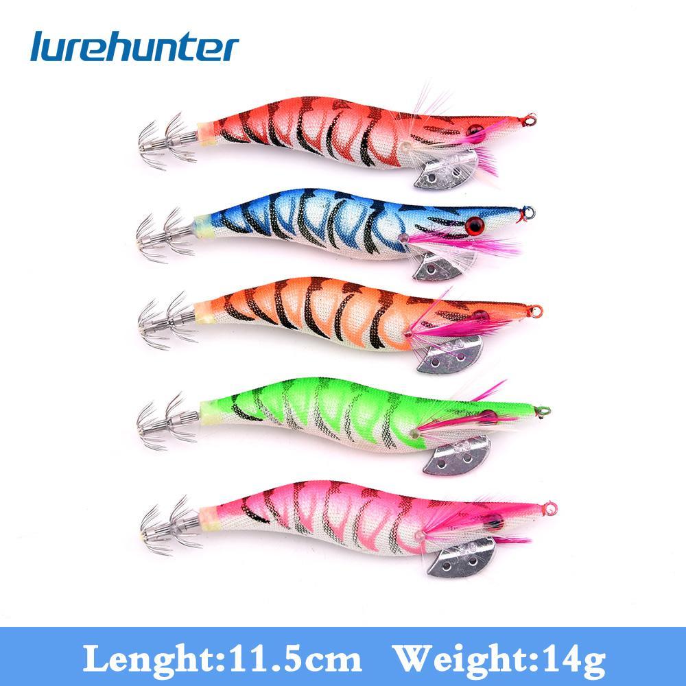 20pc 3.0 # Luminous de crevettes Squid Jigs de pêche Leurre 5 Couleur pêche 11.5cm / 14g Appâts de pêche