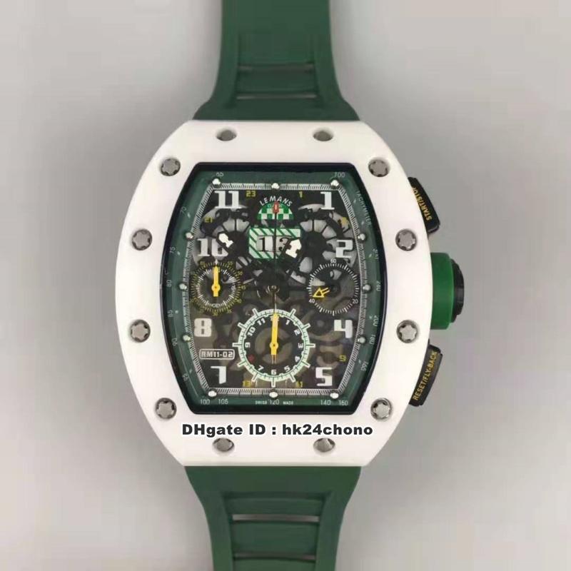 8 Stil En Iyi RM011 Felipe Massa Beyaz Seramik Flyback Chronograph ETA7750 Otomatik Erkek İzle Yeşil İskelet Dial Kauçuk Kayış Saatler