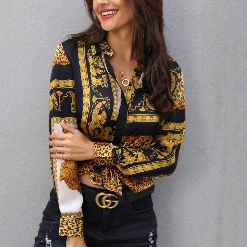 Elegant Print Shirt Loose Button Down Shirt Turn-down Collar Female Print Knot Front Long Sleeve Blouse Tops