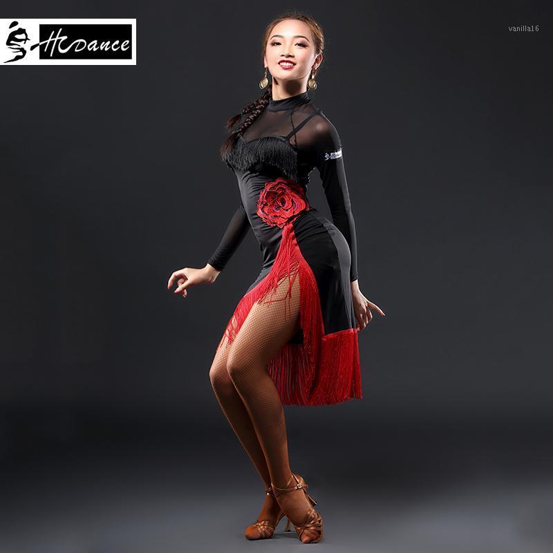 2019 Hcdance New Brand 1 Color Latin Dance Dress Women Black S-XXL Ballroom Tango Rumba Chacha Dance Dresses Hot Sale A31301