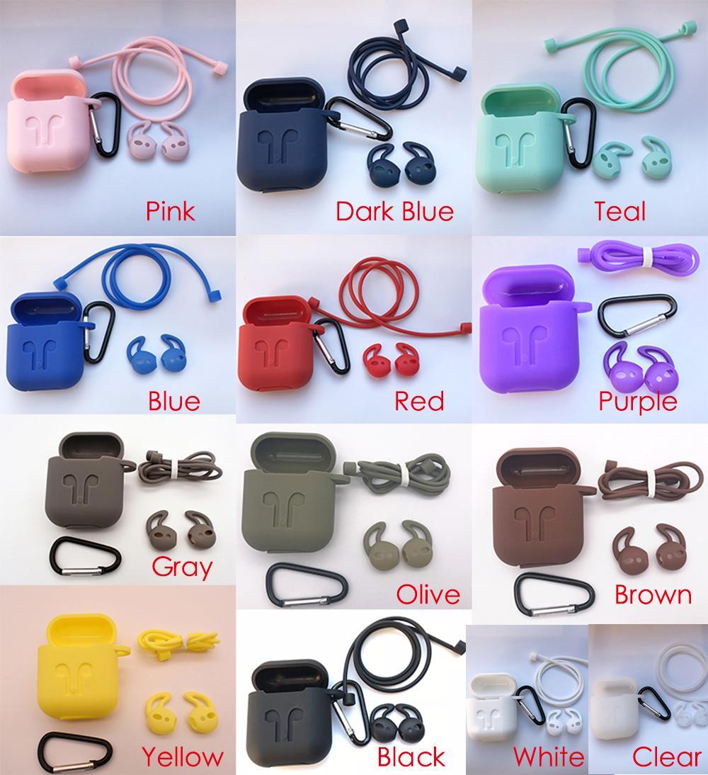 13 couleurs de antidérapante en silicone Épaissir couverture écouteurs Housse de protection peau anti-perte de fil écouteurs sans fil Embouts cas pour AirPod