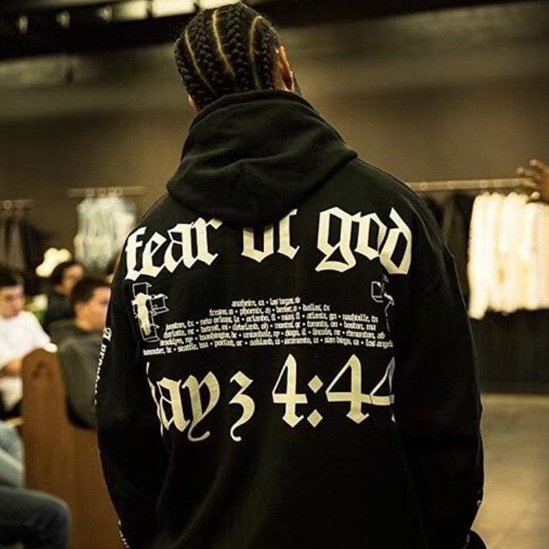 FFOG Kollektionen Jaz Konzert Sweater Retro High Street Fashion lose beiläufige schwarze Männer und Frauen Paar Hoodies Pullover HFSSWY003