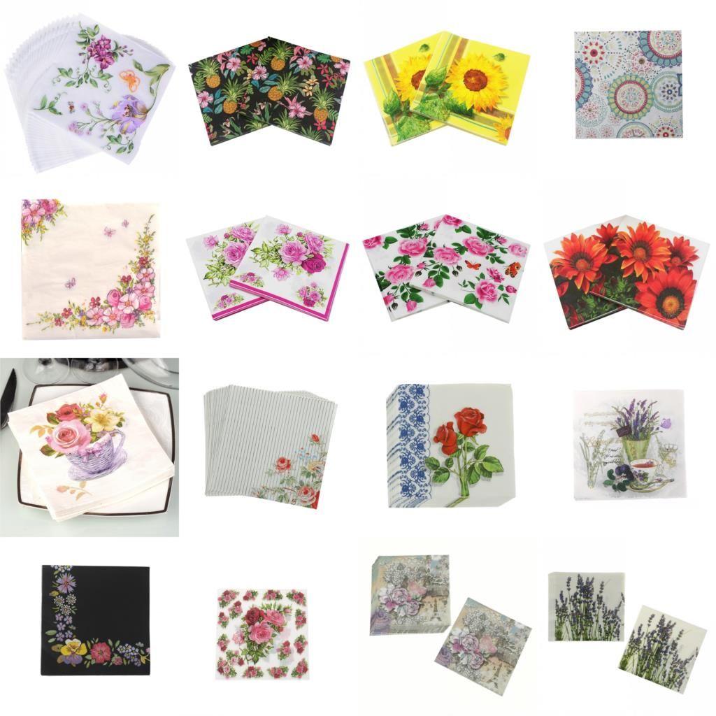 20pcs / pack bloosm rose fleurs fleurs thème serviettes de papier pour serviettes de tissus déco découpage décoration festive fête fournitures