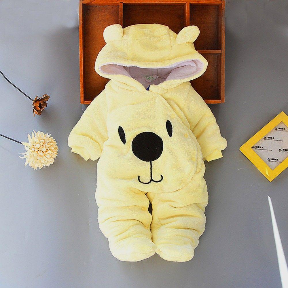 Infant Toddler Newborn Baby Girls Boys Solid Cartoon Bear Velvet Hooded Winter Warm Jumpsuit Romper Cute Fashion Clothes 0-12M