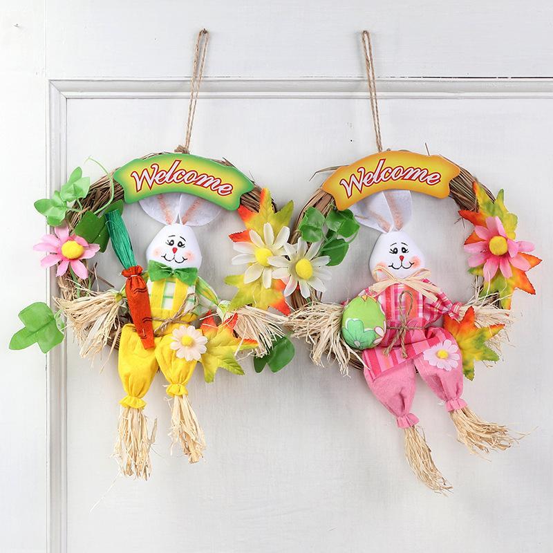 Easter Bunny Corona paglia Bunny decorazione del portello Ornamenti Coniglio arazzi Festive feste di Pasqua Gadgets
