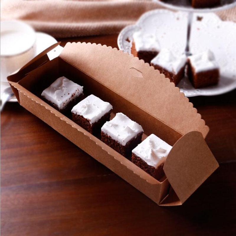 Kraft Paper Baking Packing Box Cardboard Box Macaron Packaging Kraft Paper Boxes Jewelry Cake Gift 23*4*7cm about DHL