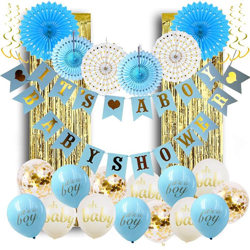 Baby Shower Boy Birthday Party Confetti Balloon Decorations Gender Reveal Supplies Birthday Party Decor Baby Shower Favors Blue Paper Fan Discount Birthday Party Supplies Discount Kids Birthday Party Supplies From Cosmose 14 25