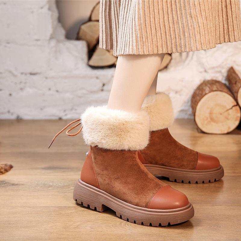 El calor de terciopelo Snerakers mujeres de las botas de nieve botas planas Plus plataforma de las señoras calientes de los zapatos de 2019 nuevos mujeres de invierno L11-68
