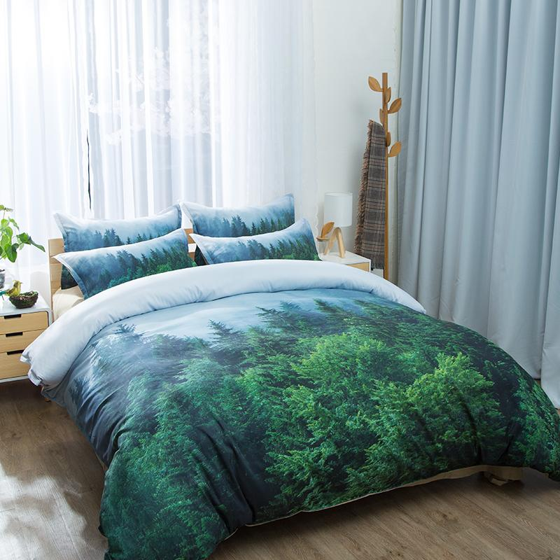 Natural Maple Forest Bedding Set Rustic Fall Autumn Tree Duvet