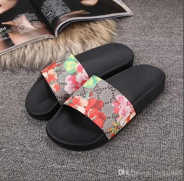 Borracha sandália de slides Floral brocade homens chinelo Engrenagem bottoms Flip Flops mulheres listrado Praia causal chinelo US5-12 034