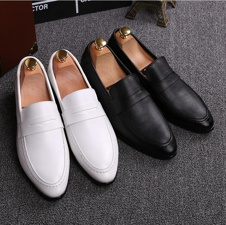 Rahatlık Parti Ayakkabı Erkekler Ofisi Moda Kayma-On Düğün Oxfords Elbise İşletme boyutu 38-44 A44 Walking Sıcak Deri Erkek Günlük Ayakkabılar