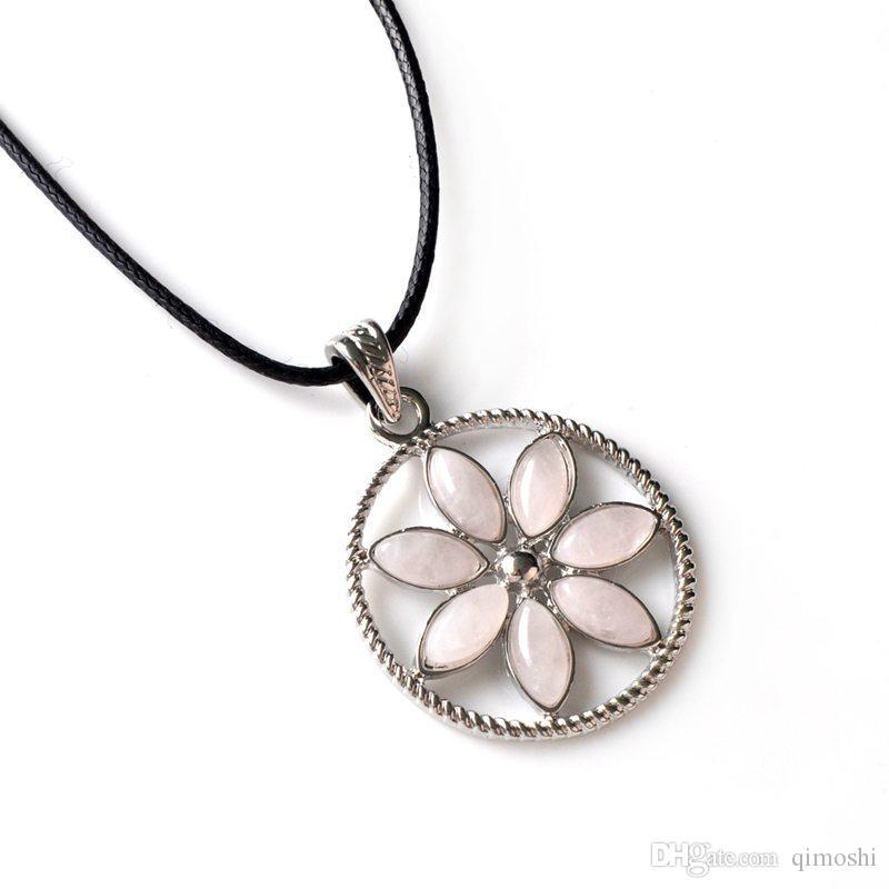 7 petals flower pendant ladies color rainbow romantic pendant necklace daily clothes wild