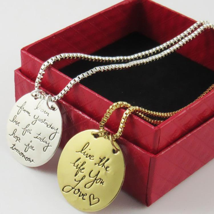 Schmuck Lernen Von Gestern Leben Für Heute Hoffnung Für Morgen Brief Anhänger Halskette Neue Modeschmuck 2 Farben OPP Tasche
