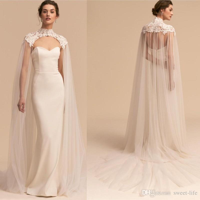 아플리케 흰색 Tulle 웨딩 케이프 Bridal Wraps Long Cloak 저렴한 웨딩 여성 정장 Bridal Jackets