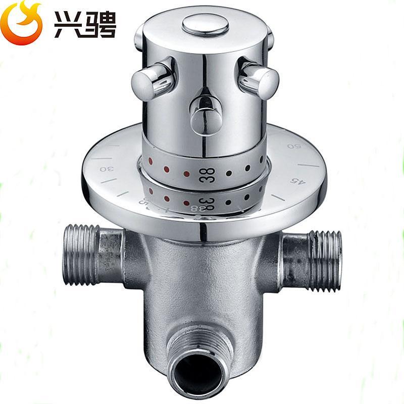 """황동 G1 / 2 """"벽 비데 스프레이 핸드 샤워 온도 조절 믹서 밸브 뜨거운 물과 차가운 물을 장착"""