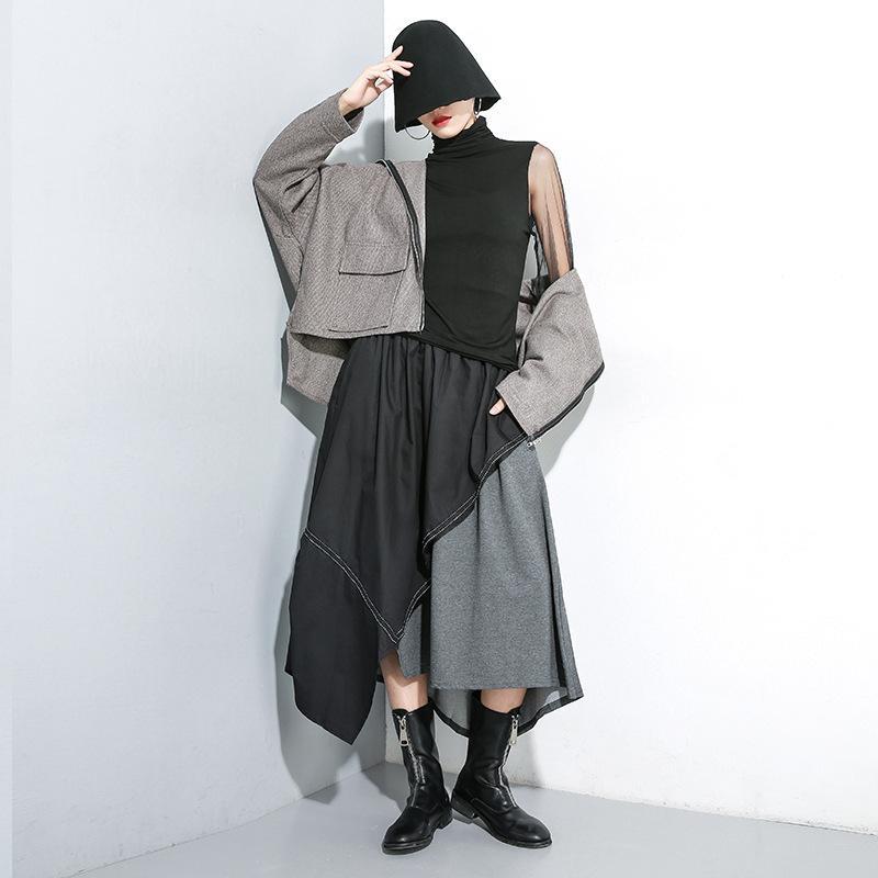 2020 Veste à capuche automne pour Loose Women Plus Size Coat Zipper Femme Turn-down col Tendance femmes Manteaux A71Z40