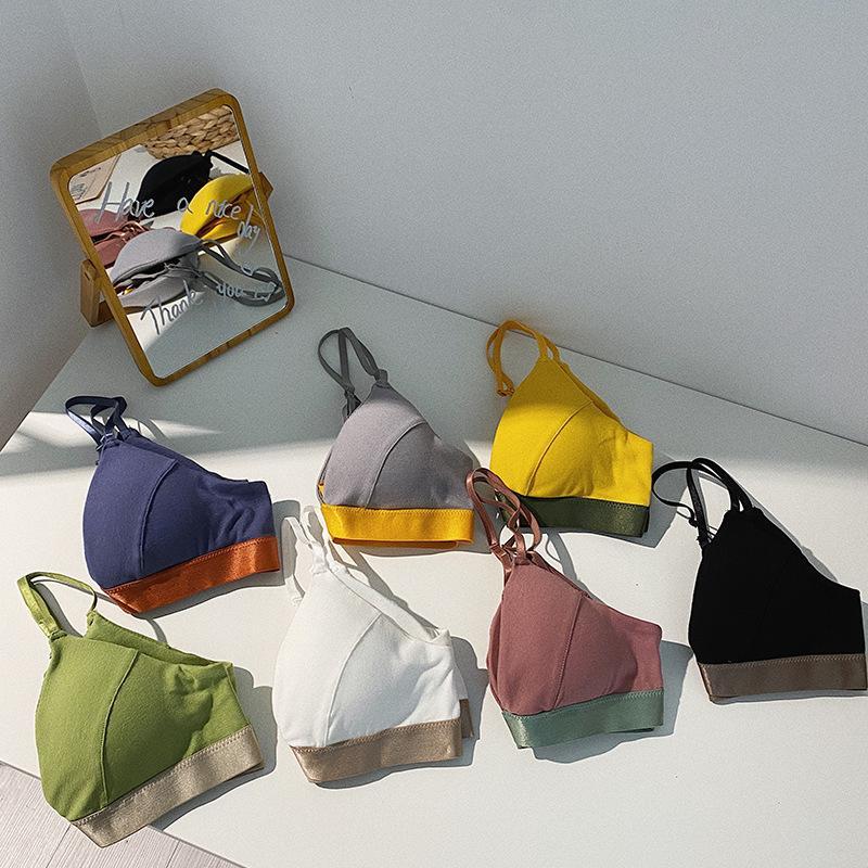INS Stile Giapponese a contrasto di colore dentro e fuori Bra Piccolo dolce ragazze Senso francese Triangolo Coppa piccolo scrigno Underwear Bra