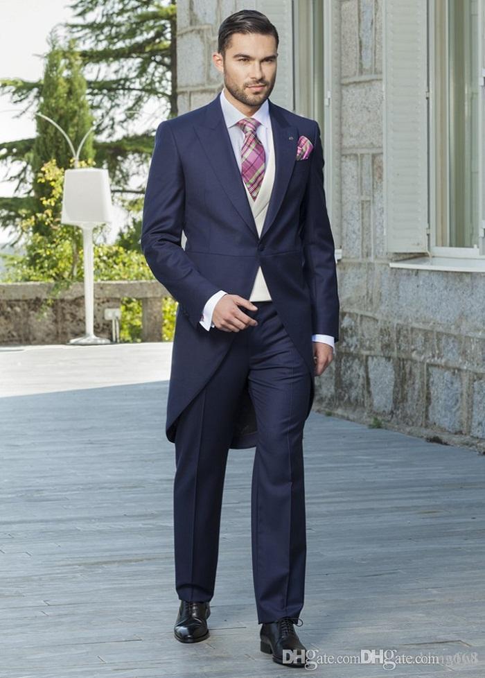 Dunkelblaue Smoking Bräutigam Hochzeit Männer Anzüge Herren Hochzeit Anzüge Smoking Kostüme Rauchen für Männer Männer (Jacke + Hose + Krawatte + Weste) 015