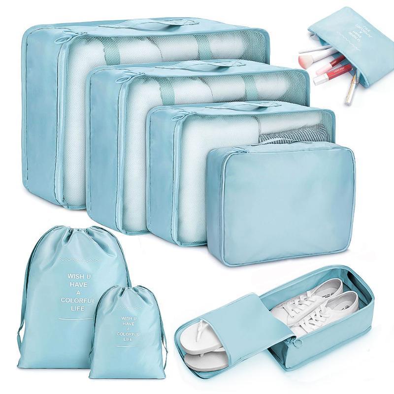 8 قطع السفر المنزل الملابس لحاف بطانية تخزين حقيبة مجموعة الأحذية التقسيم مرتبة المنظم خزانة حقيبة الحقيبة التعبئة أكياس مكعب