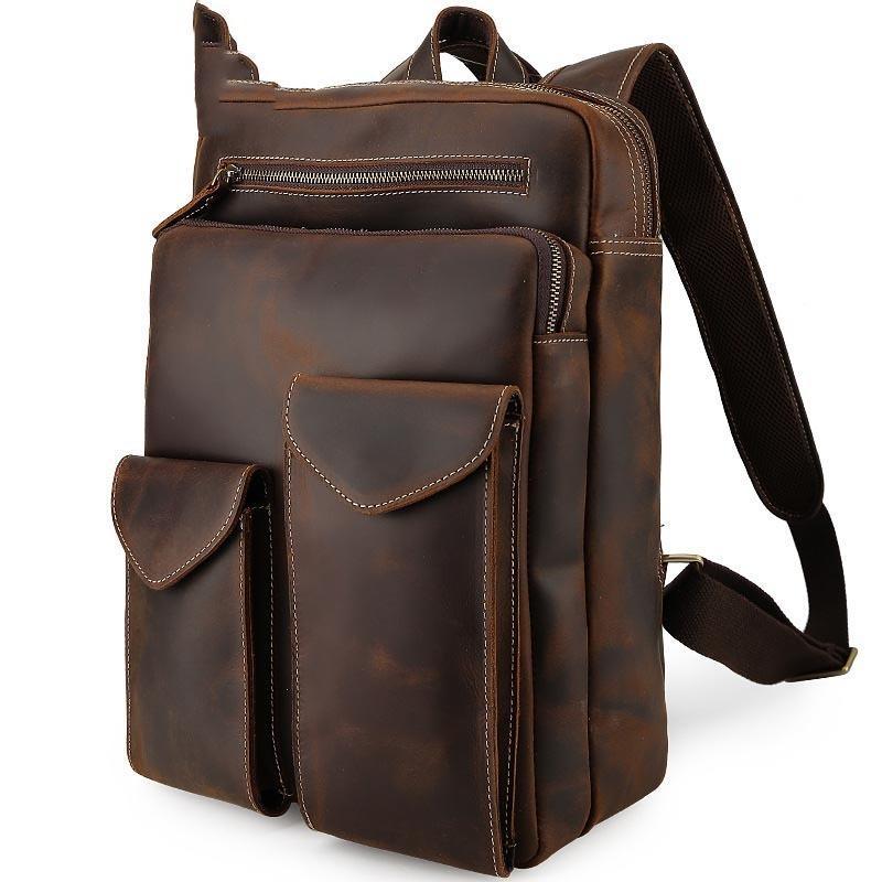 Большая емкость Сумасшедшие конская путешествия рюкзак Мужская кожа Компьютерная сумка рюкзак для ноутбука