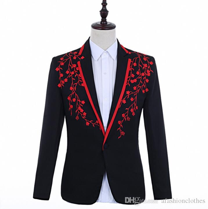 singers embroidered blazer men suits designs jacket mens stage costumes clothes dance star style dress punk rock masculino homme