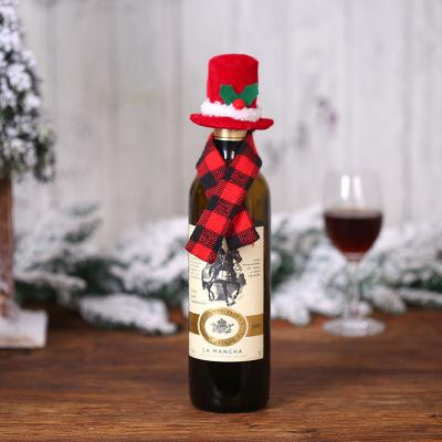 Christmas Creative Ornament Scarf hat Two-Piece Suit Red Wine Bottle Set Hotel Restaurant Layout Dress Up Supplies EEA827