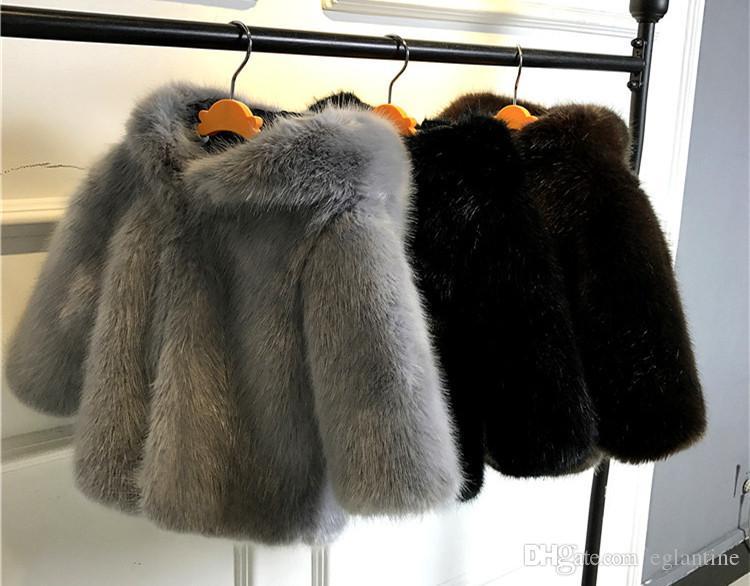Baby Jungen Mädchen Faux Pelzmantel Mit Kapuze Oberbekleidung Kinder Nachahmung Flaumig Pelz Warme Kleidung Kinder Herbst Winter Langarm Jacke