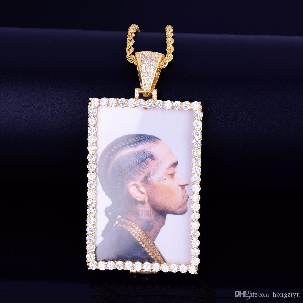 Новый заказ ожерелье Made Фото Squar медальоны с Rope Chain Золото Серебро Цвет кубического циркона Мужская хип-хоп ювелирных изделий