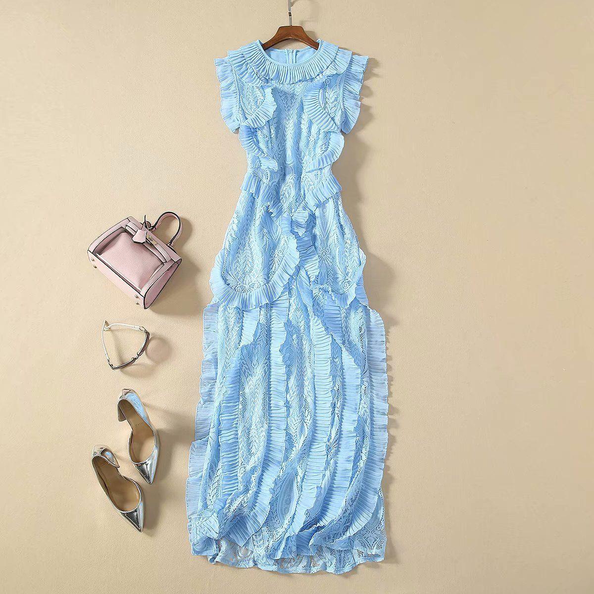2020 Yeni Bahar Yaz O Boyun Kolsuz Kasetli Dantel Milan Pist Elbise Tasarımcı Elbise Marka Same Tarzı Elbise 12-15,4