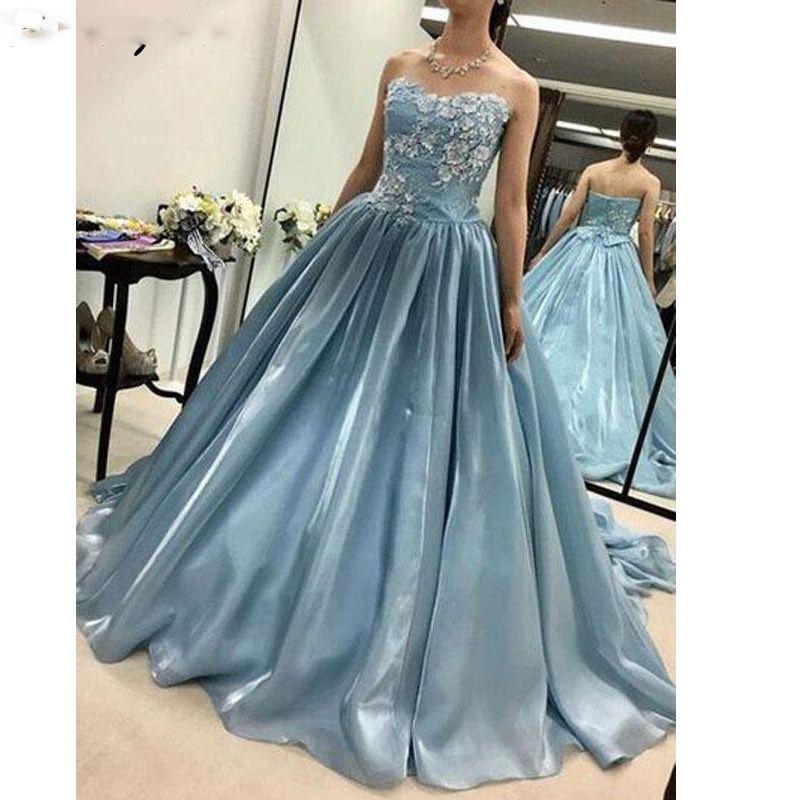 Blue Puffy 2019 robes de Quinceanera robe de bal sweetheart appliques de satin dentelle partie douce 16 robes robes de 15 ans