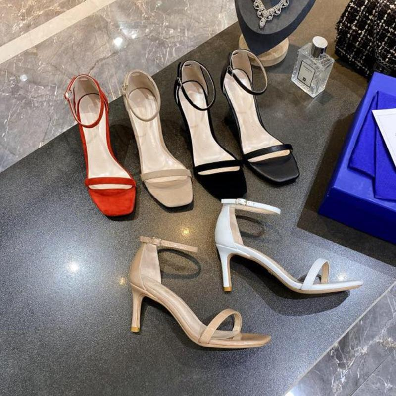 Junxxin 2020 new summer leather Women's sandals fashion Square head women's sandals sexy lady high 34-40