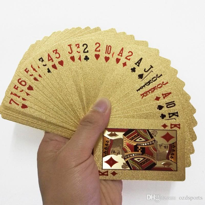 2pcs / lot feuille d'or en plastique Cartes à jouer Jeu de poker plate-forme feuille d'or Poker Set Magic Card Cartes étanches gros