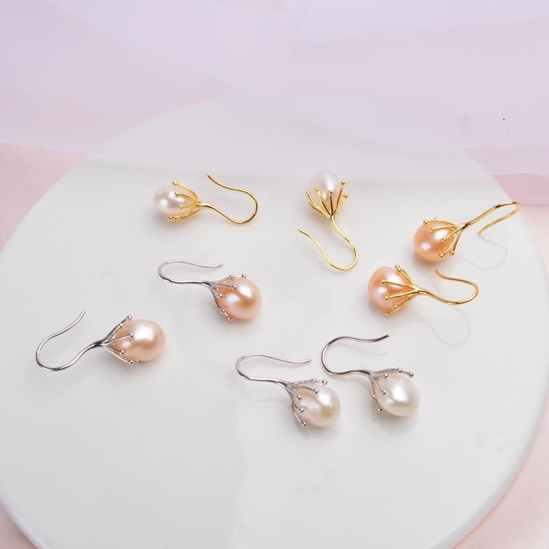 ASHIQI Natural Baroque Pearl Earrings 925 Sterling Silver Drop Earrings For Women Luxury Fresh Water Pearl Jewelry