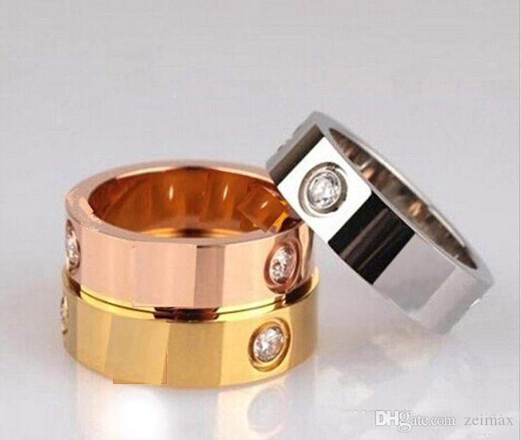 Titane Anneaux en acier inoxydable pour les couples de bijoux Femme Homme cubique Argent Or Zircone or rose anneaux Logo avec sac rouge 4 mm 6 mm