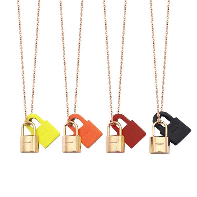 New H Письмо, висит черный красный оранжевый кожаный замок ожерелье титановая любовь ожерелье пряжка женщин розовое золото ожерелье мода ювелирные изделия оптом