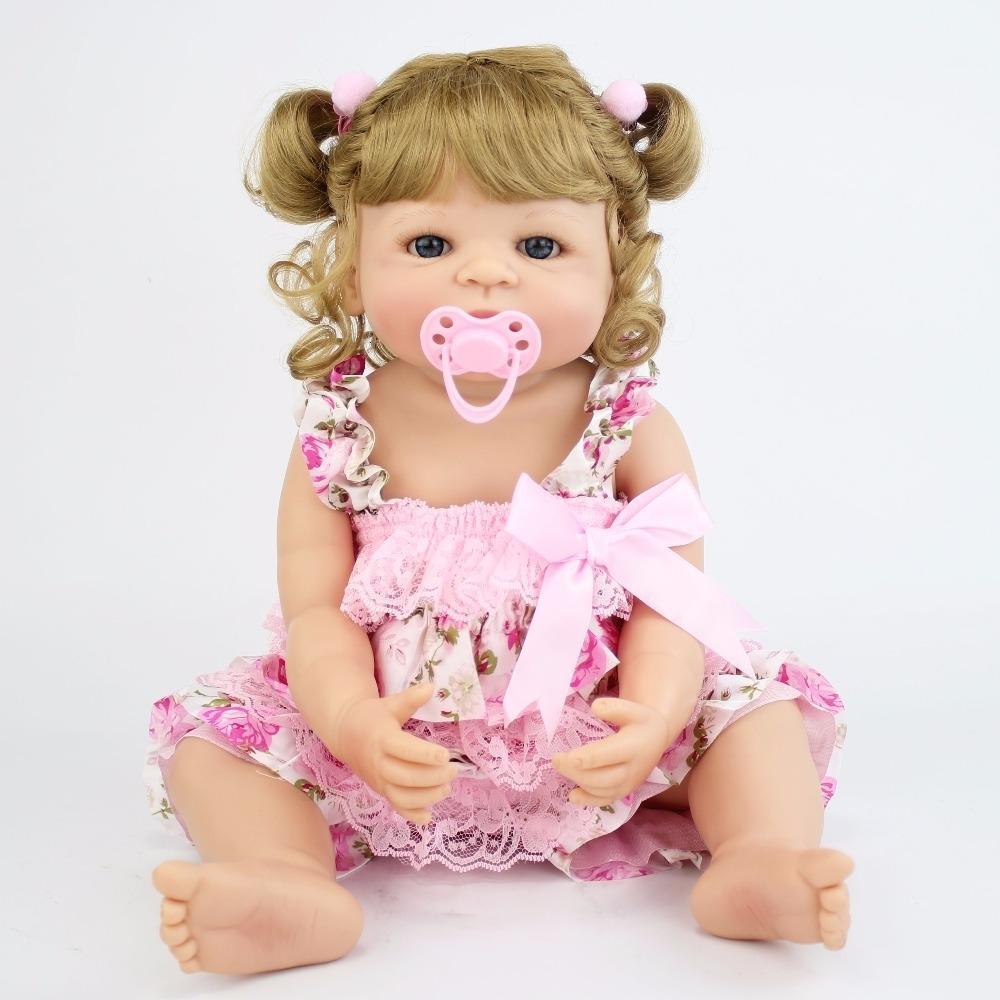 55cm pleine silicone vinyle Poupée Princesse réaliste Reborn Nouveau-né Bébé Bebe Jouet Vivant anniversaire filles cadeau Maison de jeu Bathe Toy CJ191212