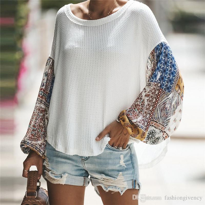 Luxuxfrauen Designer Pullover Mode Flarol Printed Lace Laterne Langarm Panelled strickt Pullover Femme Tees