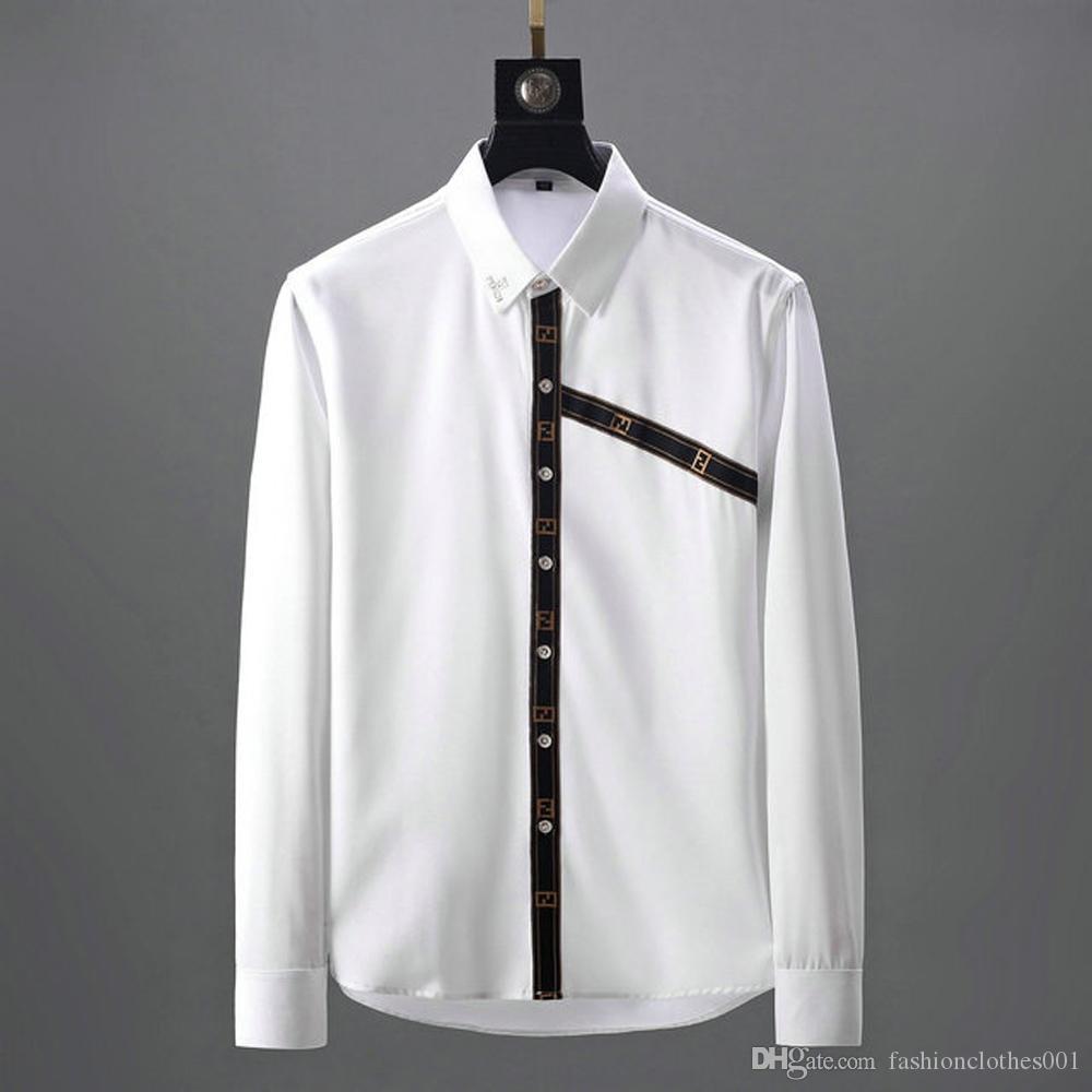 Para hombre de la marca de diseño de manga larga Camisas de ropa firmate camisas de la manera ocasional de la camisa de lujo camisa de tela escocesa Homme Botón encima de las tapas 021