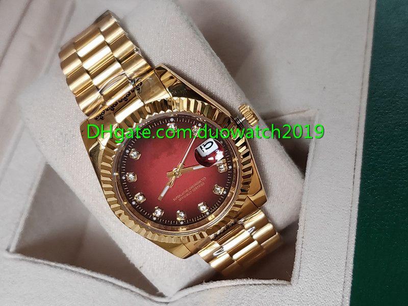 2020 جديد 36 ملليمتر نمط الفاخرة الأحمر الطلب الماس الطلب رجل 116238 التلقائي الأزياء ووتش الرجال ووتش ساعة اليد الذهب الأصفر للطي الميكانيكية