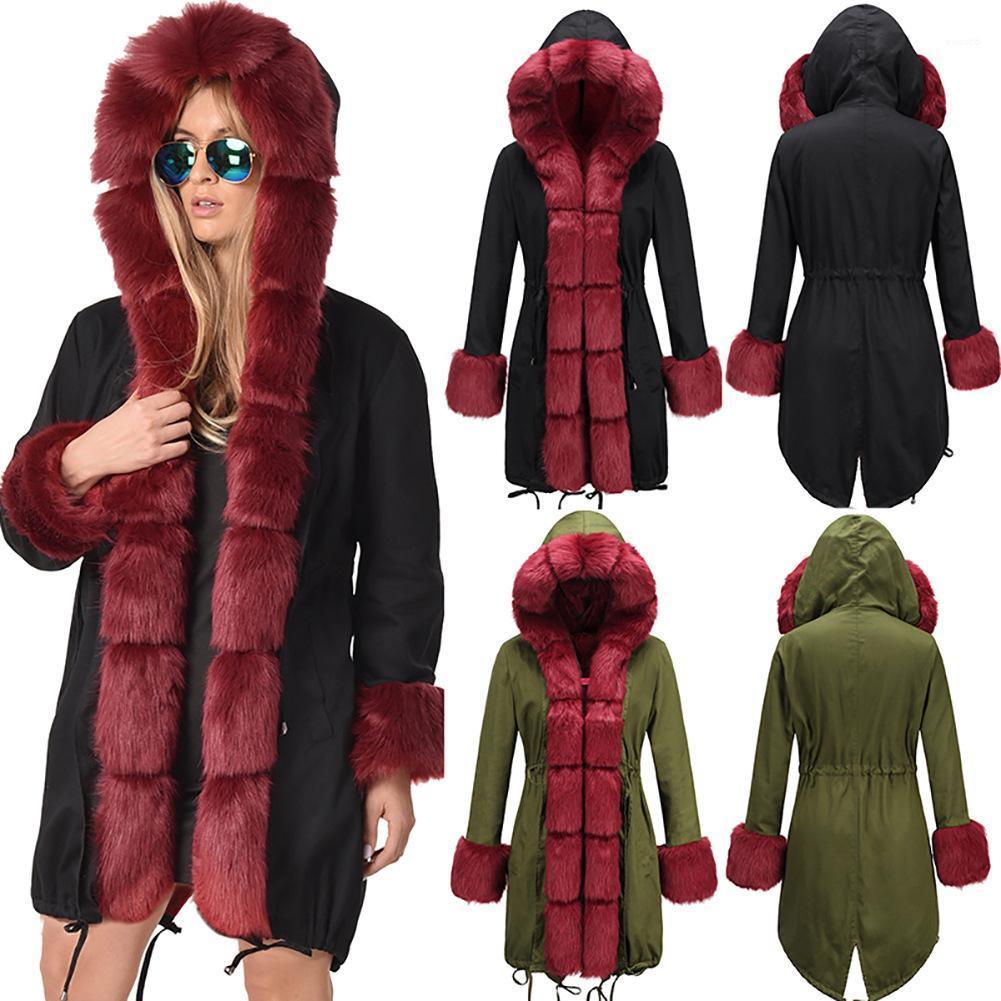 Brasão Exército Verde Longo solta Coats Parkas Negras Vestuário Womens Inverno grossa jaqueta casaco quente gola de pele