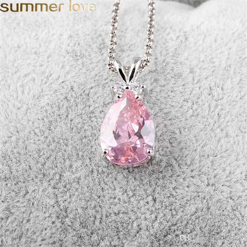New Fashion Style Synthetic Zircon Teardrop Necklace Silver Color Jewelry Purple Pink Green Austrian Crystal Pendant Necklace Women Gifts