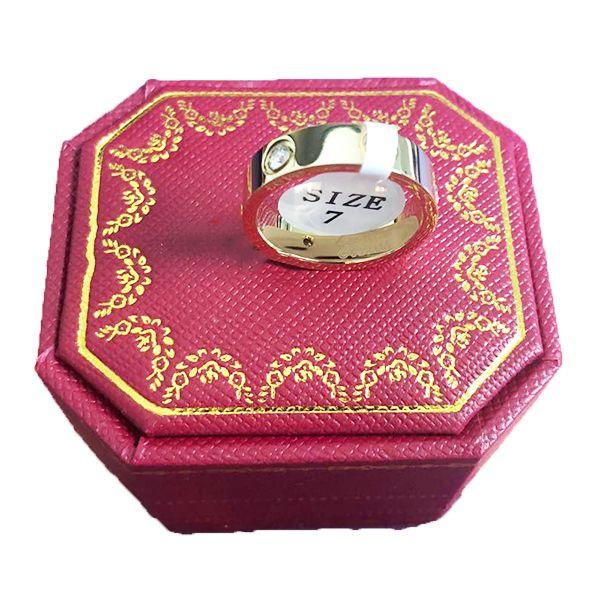 Los amantes de boda de titanio acero anillo para las mujeres Circonita rosa anillo de compromiso de los hombres de oro joyas regalos PS8401