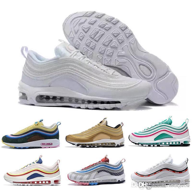 nike air max 97 airmax Vente chaude Nouveaux Hommes chaussures de course Coussin KPU En Plastique Pas Cher Formation Chaussures de Mode En Gros De Plein Air Baskets Nous 7-12
