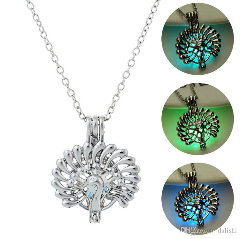 Argent Couleur Lumineuse Colliers Creux Paon Médaillon Collier Saint-Valentin Antique Lumineux Perles Encensoir J Cage Cadeau
