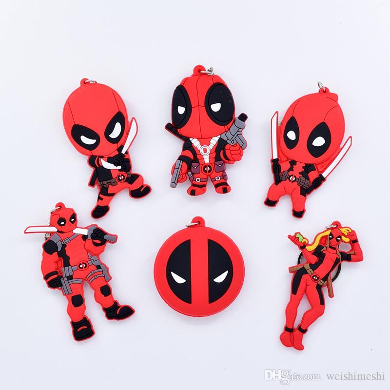 Compre Super Hero Q Versão Marvel Anime Pvc Keychain Dupla Face Anime Deadpool Silicone Chave Da Cadeia Dos Desenhos Animados Figuras Toy Bonecas Saco