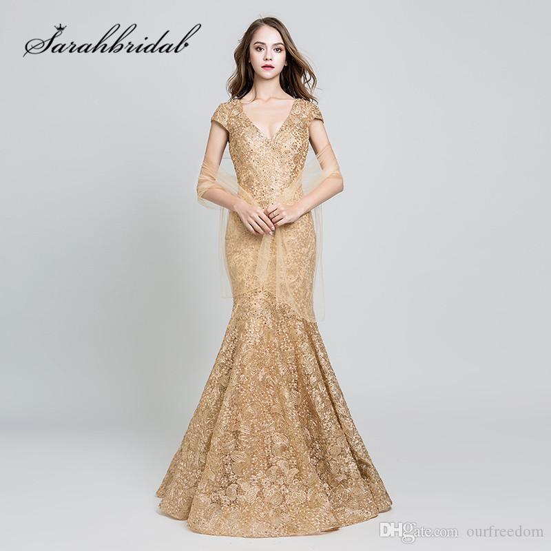 2019 Elegante Abendkleider Lange Goldspitzenstickerei Sexy V-Ausschnitt Backless Kurzen Ärmeln Meerjungfrau Mutter der Braut Formelle Kleider 547