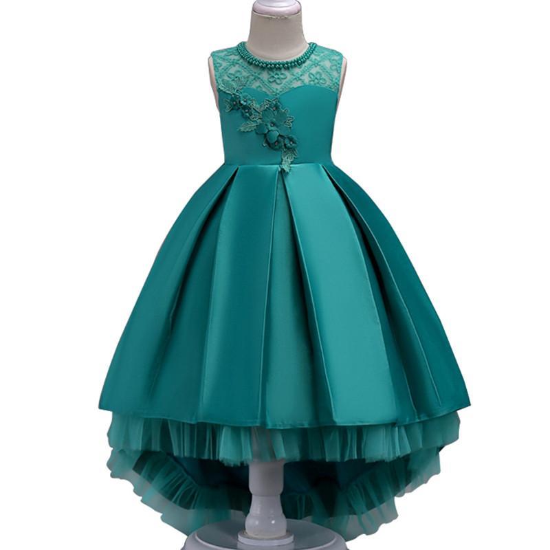Yaz Çiçek Dantel Kız Düğün Pageant Parti Elbiseler Prenses Örgün Balo Abiye Boyutu 3-14 Yıl 2019 Yeni Çocuk Kız giysi
