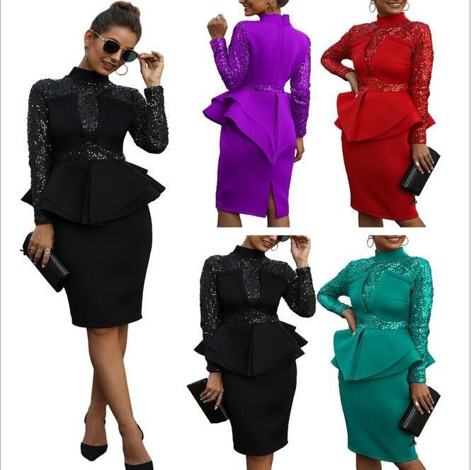 Novo europeus e americanos moda outono e inverno sexy sequin vestido das mulheres manga longa de babados cor sólida vestido de noite