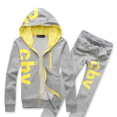 Men Sporting Suit Casual Letter Hooded Hoodies Tracksuit Set Long-sleeve Sweatshirt +Pant Set Male Plus Size 2 Piece Sets Funny